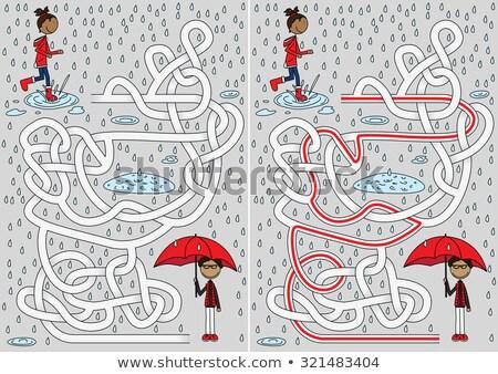 chuvoso · dia · labirinto · crianças · jogo - foto stock © Natali_Brill