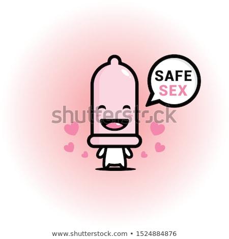 Szczęśliwy prezerwatywy maskotka cartoon charakter odizolowany biały Zdjęcia stock © hittoon