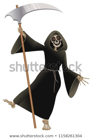 Death in black cloak with scythe dancing party Halloween Stock photo © orensila