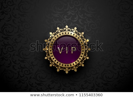vip purple label with round golden ring frame crown on black floral background dark glossy royal stock photo © iaroslava