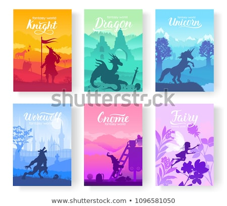 set of diverse fantasy worlds illustration fantasy creatures from old myths and fairy tales templa stock photo © linetale