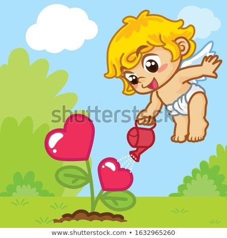 Cartoon Smiling Cupid Chimpanzee Stock photo © cthoman