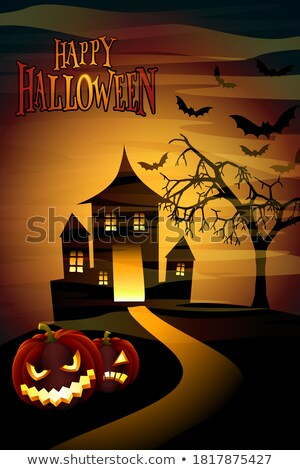 Stock photo: Happy Halloween illustration with moon, flying bats and pumpkin hand on orange background. Vector Ho