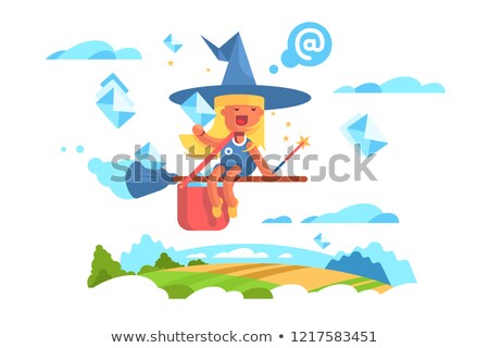 Fée femme battant balai fille Photo stock © jossdiim