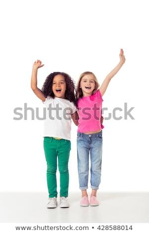 Twee mooie cute jonge meisjes vrienden Stockfoto © deandrobot