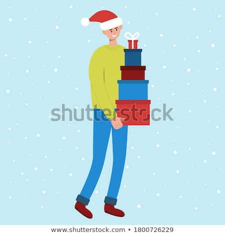 Stock photo: Man Carries A Lot Of Heavy Boxes With Gifts Vector. Illustration