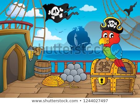 kalóz · hajó · sziluett · illusztráció · csónak · repülés - stock fotó © clairev