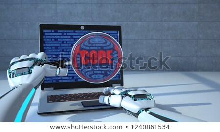 robot hands loupe notebook code stock photo © limbi007