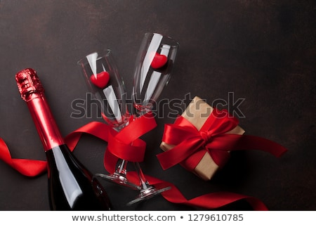 valentines day gift box and champagne glasses stock photo © karandaev