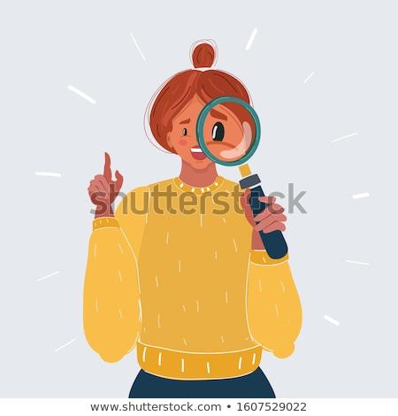 Cartoon souriant détective femme femme souriante heureux Photo stock © cthoman