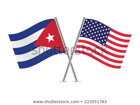 Due bandiere Stati Uniti Cuba isolato Foto d'archivio © MikhailMishchenko