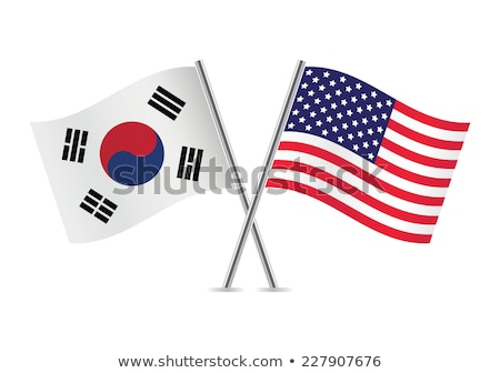 Two waving flags of United States and south korea Stock photo © MikhailMishchenko
