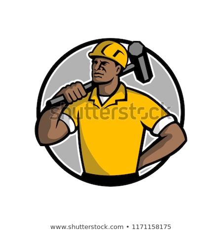 African american demolizione lavoratore mascotte illustrazione nero Foto d'archivio © patrimonio