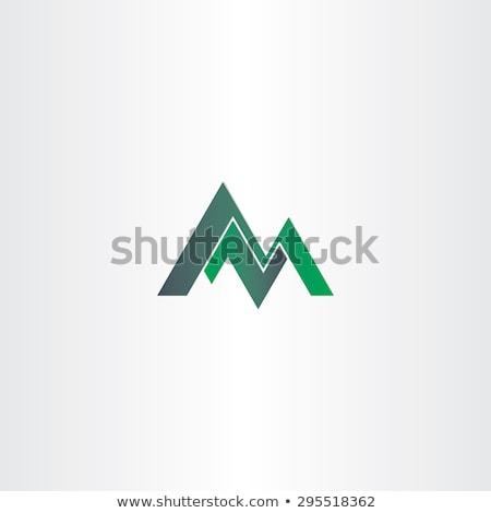 Hegyek m betű szimbólum logo vektor zöld Stock fotó © blaskorizov