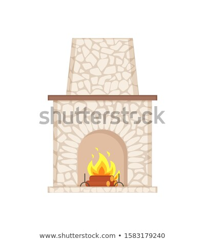 Fireplace with Long Chimney Paved in Stone Icon Stock photo © robuart