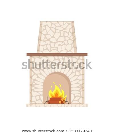 Lareira longo chaminé pedra ícone isolado Foto stock © robuart
