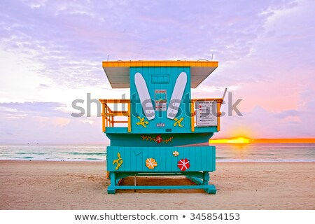 Scene with lifeguard house on beach Stock photo © colematt
