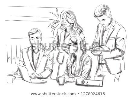 Kicsi csapat üzleti megbeszélés vektor digitális megbeszélés Stock fotó © frimufilms