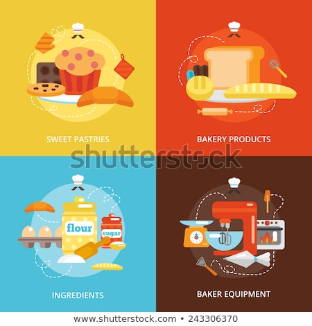 bakery flat concept icons stock photo © netkov1