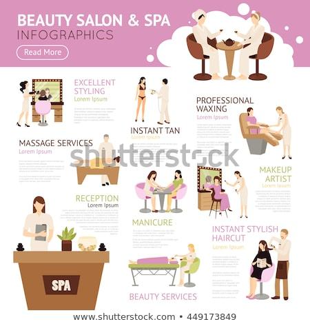 Spa Salon Tanning Procedure Reception Set Vector Stock photo © robuart