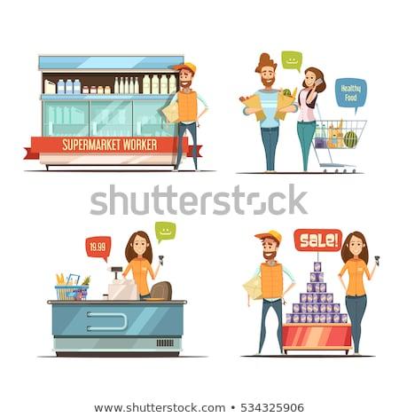 Supermercado tienda frutas departamento trabajador vector Foto stock © robuart