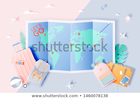 travel around the world   colorful flat design style illustration stock photo © decorwithme