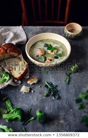 Broccoli  cream soup with salmon dumplings.selective focus Stock photo © zoryanchik