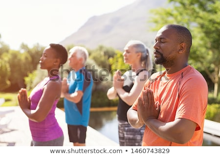 Férfi nő jóga naplemente illusztráció lány Stock fotó © adrenalina