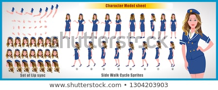 Set of air hostess character Stock photo © bluering