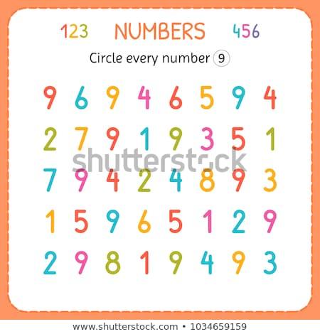 Math schrijven aantal negen illustratie bloem Stockfoto © colematt
