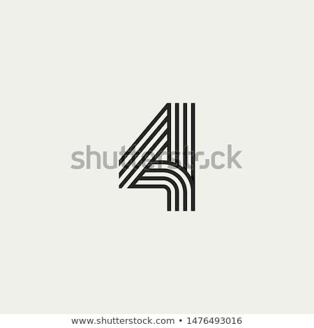 Numara örnek dört el mektup kart Stok fotoğraf © colematt