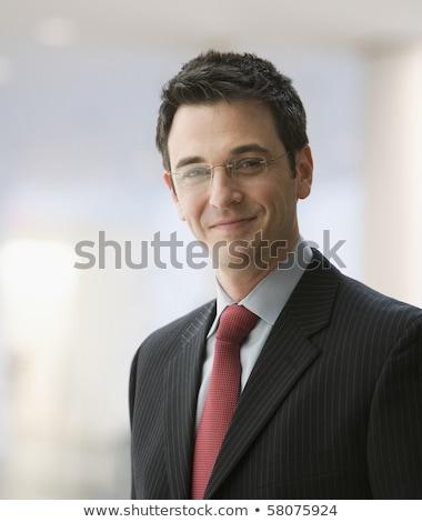 Portret człowiek biznesu pracownik biurowy 30s biały Zdjęcia stock © deandrobot