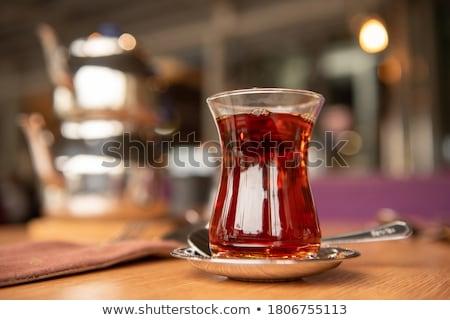 Türk çay geleneksel cam tepsi arka plan Stok fotoğraf © grafvision