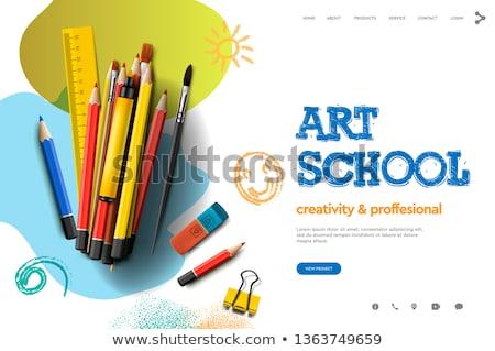 web page design template for art school studio course class education modern design vector illu stock photo © ikopylov
