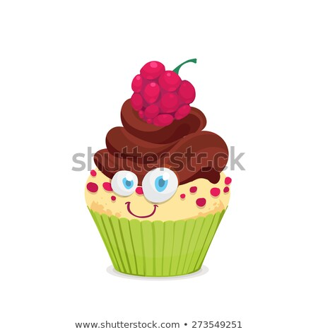 Cute pudding with strawberry whip cream dessert cartoon hand dra Stock photo © amaomam
