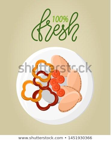 新鮮な 自然食品 材料 ボウル カット 唐辛子 ストックフォト © robuart