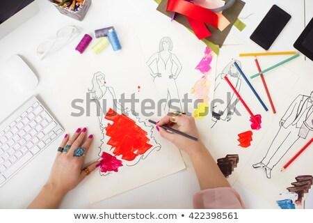 kadın · moda · çizim · yeni · elbise · stüdyo - stok fotoğraf © freedomz