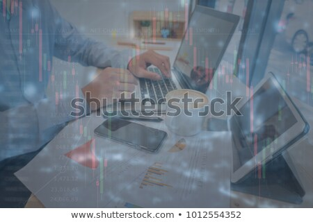 бизнес-команды рабочих компьютер таблетка документа графа Сток-фото © Freedomz