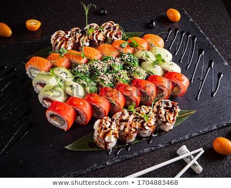 Japon · sushi · ayarlamak · bitkisel · çaylar · demlik · plaka - stok fotoğraf © karandaev