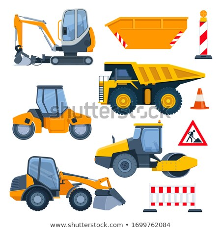 digger and cone with barrier roadwork vector stock photo © robuart