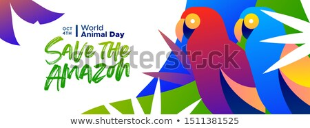 Animal Day banner of amazon forest parrot birds Stock photo © cienpies