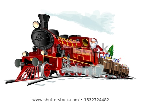 Cartoon · Рождества · поезд · Дед · Мороз · подарки · синий - Сток-фото © mechanik