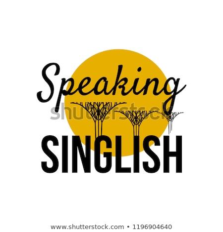 Parler texte Singapour symbole vacances élégant Photo stock © barsrsind