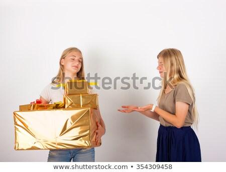 Christmas aanwezig oma geserveerd feestelijk Stockfoto © pressmaster