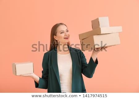Frau Feld Kunden Paket um Vektor Stock foto © robuart