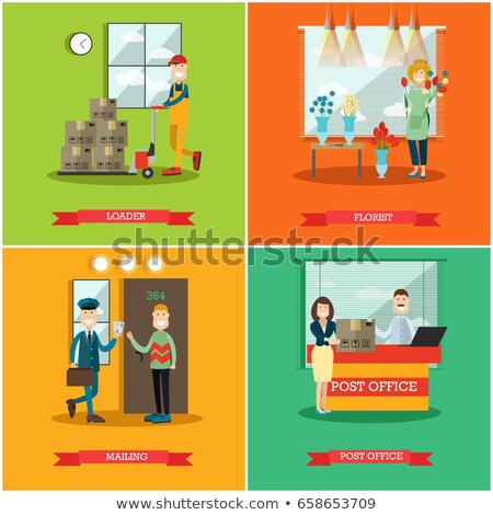 Cardboard Box on Cart, Post Office Element Vector Stock photo © robuart