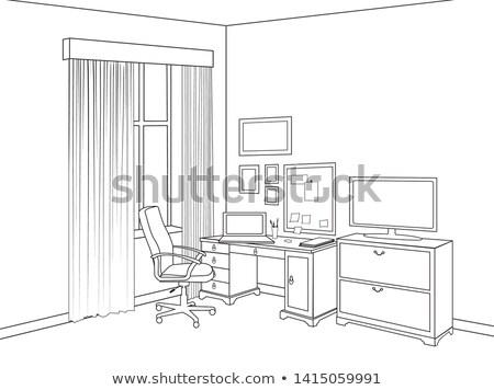 Belső rajz otthoni iroda szoba skicc bútor Stock fotó © Terriana