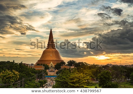 Pagode Thailand ogen groene Blauw Rood Stockfoto © koratmember