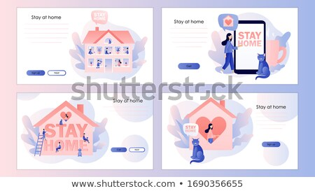 Vector stay home text with mobile phone  Stock photo © Elisanth