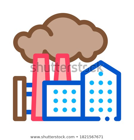 harmful substances stations above houses icon vector outline illustration Stock photo © pikepicture